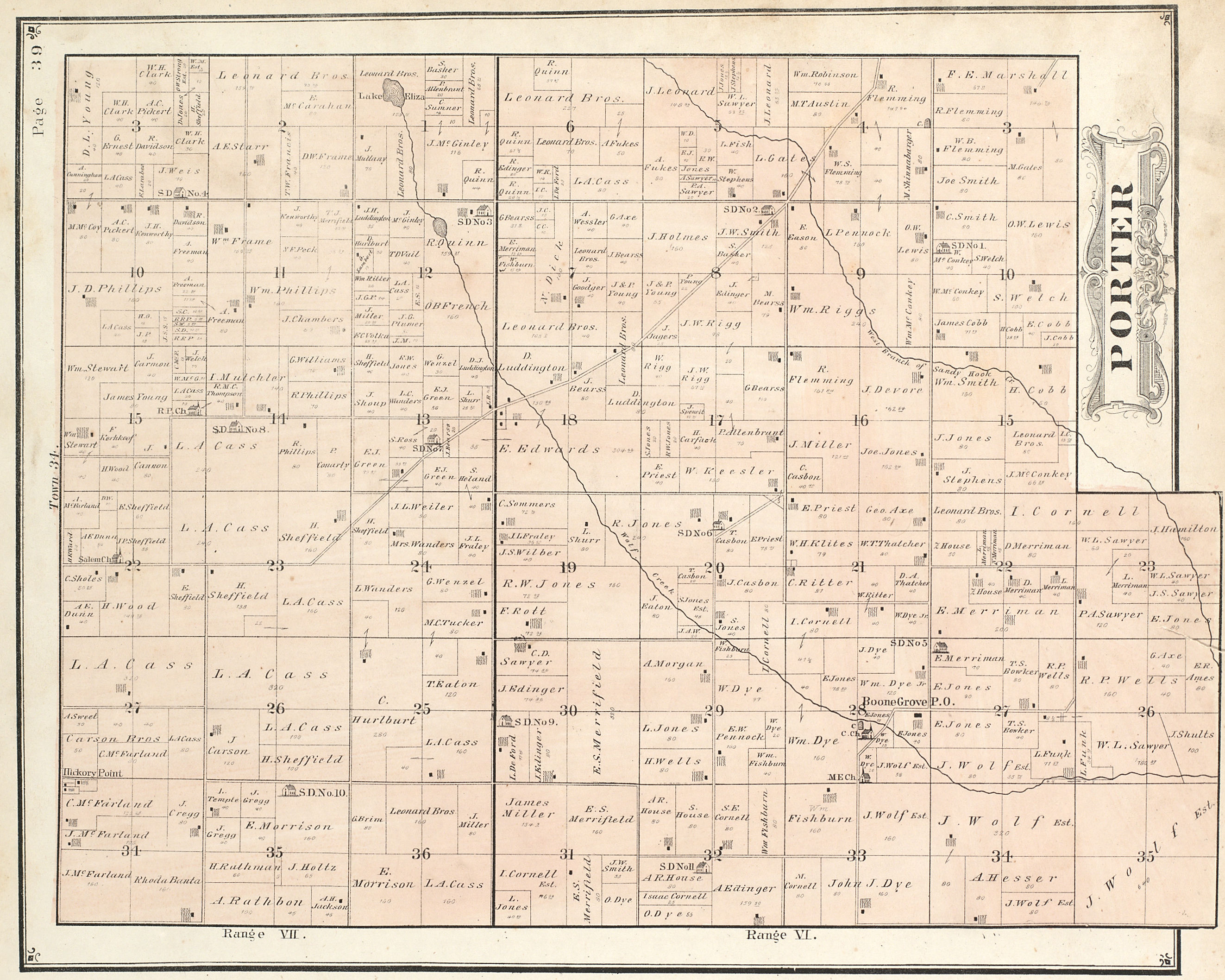 Porter County Indiana Genweb Township Plat Maps 1876