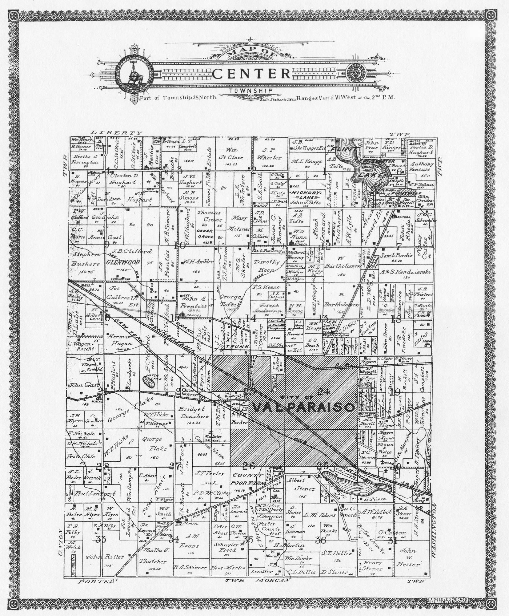 Porter County Indiana Genweb Township Plat Maps 1906