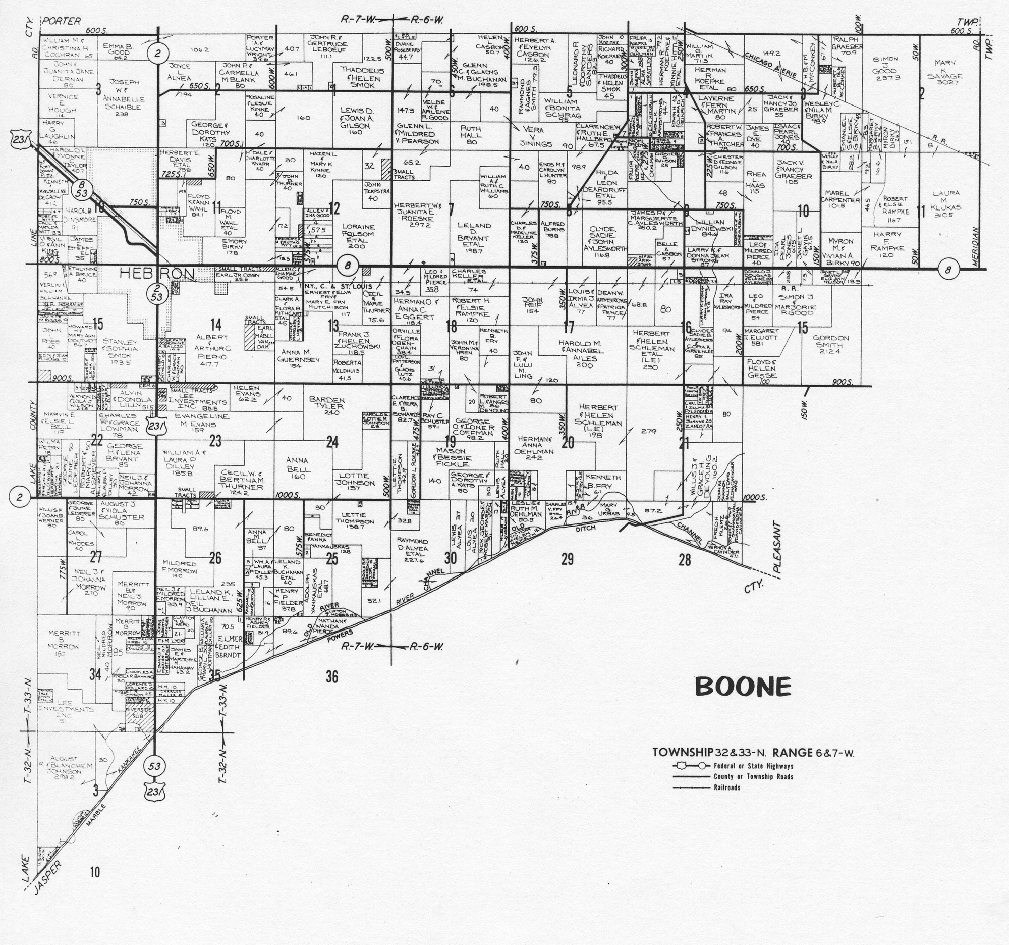 Porter County Indiana Genweb Township Plat Maps 1973