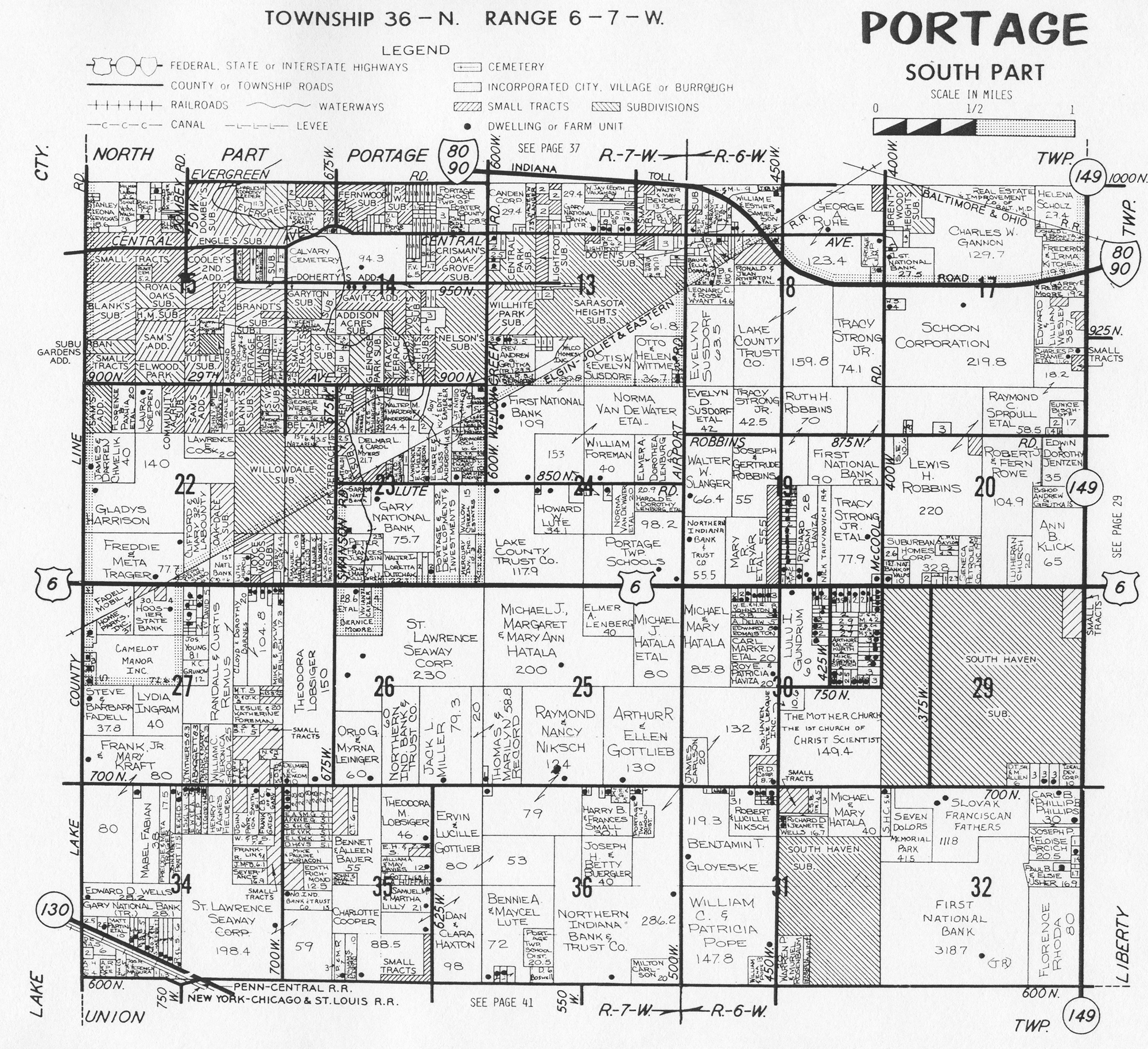 Porter County Indiana Genweb Township Plat Maps 1976