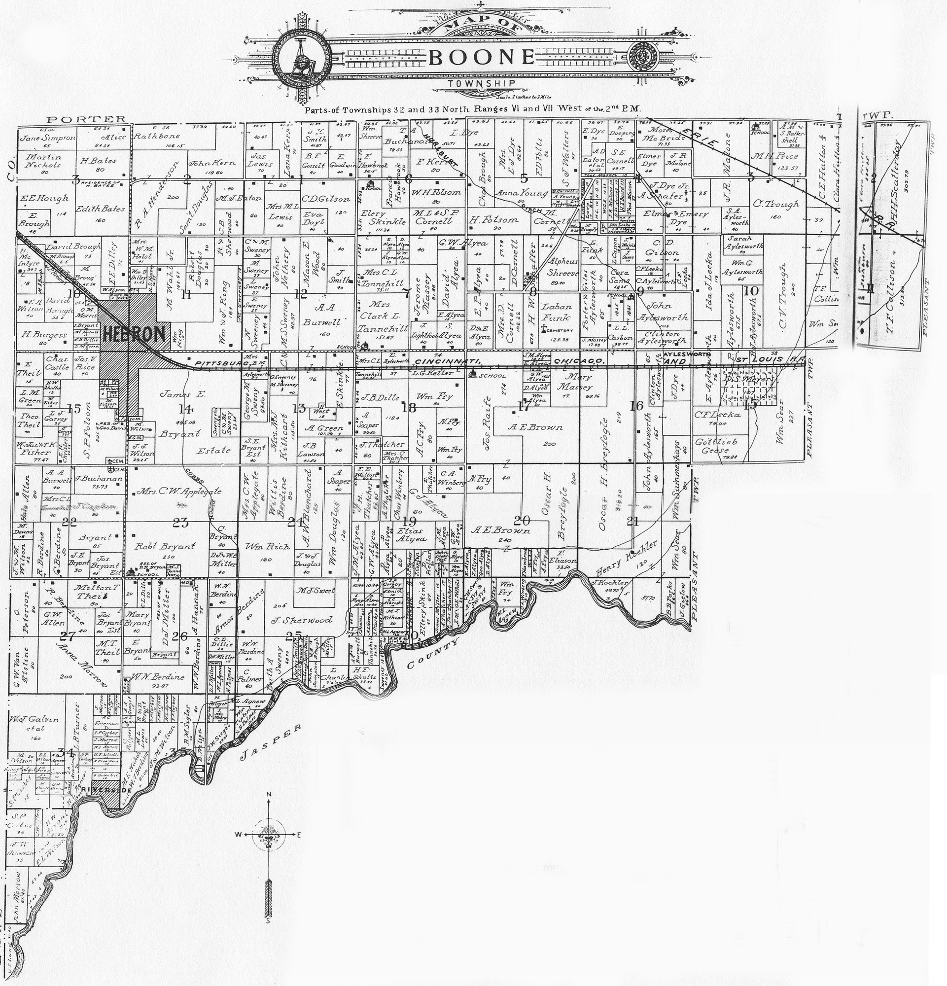 Porter County, Indiana, GenWeb - Township Plat Maps, 1906