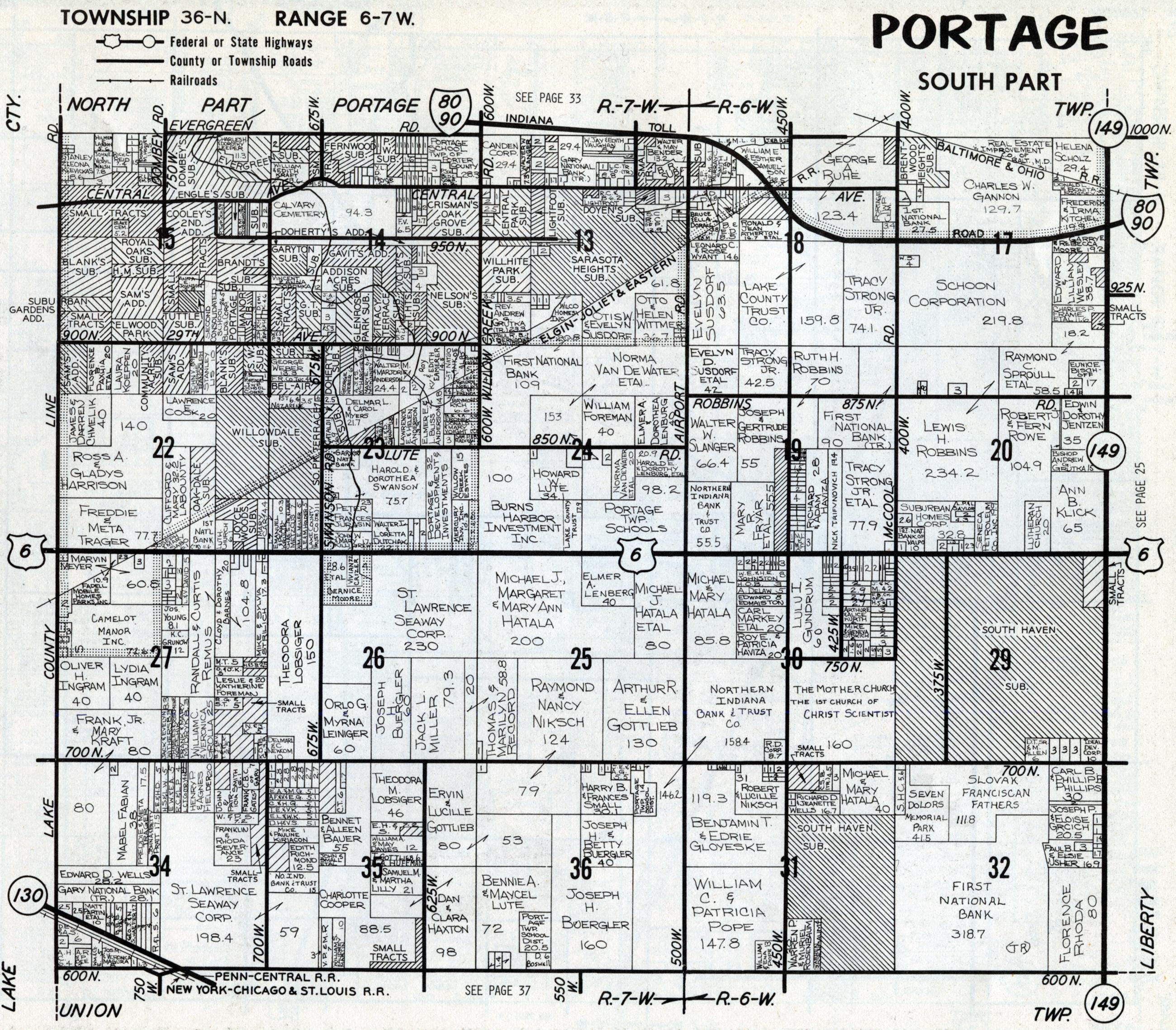 Porter County Indiana Genweb Portage Township Maps
