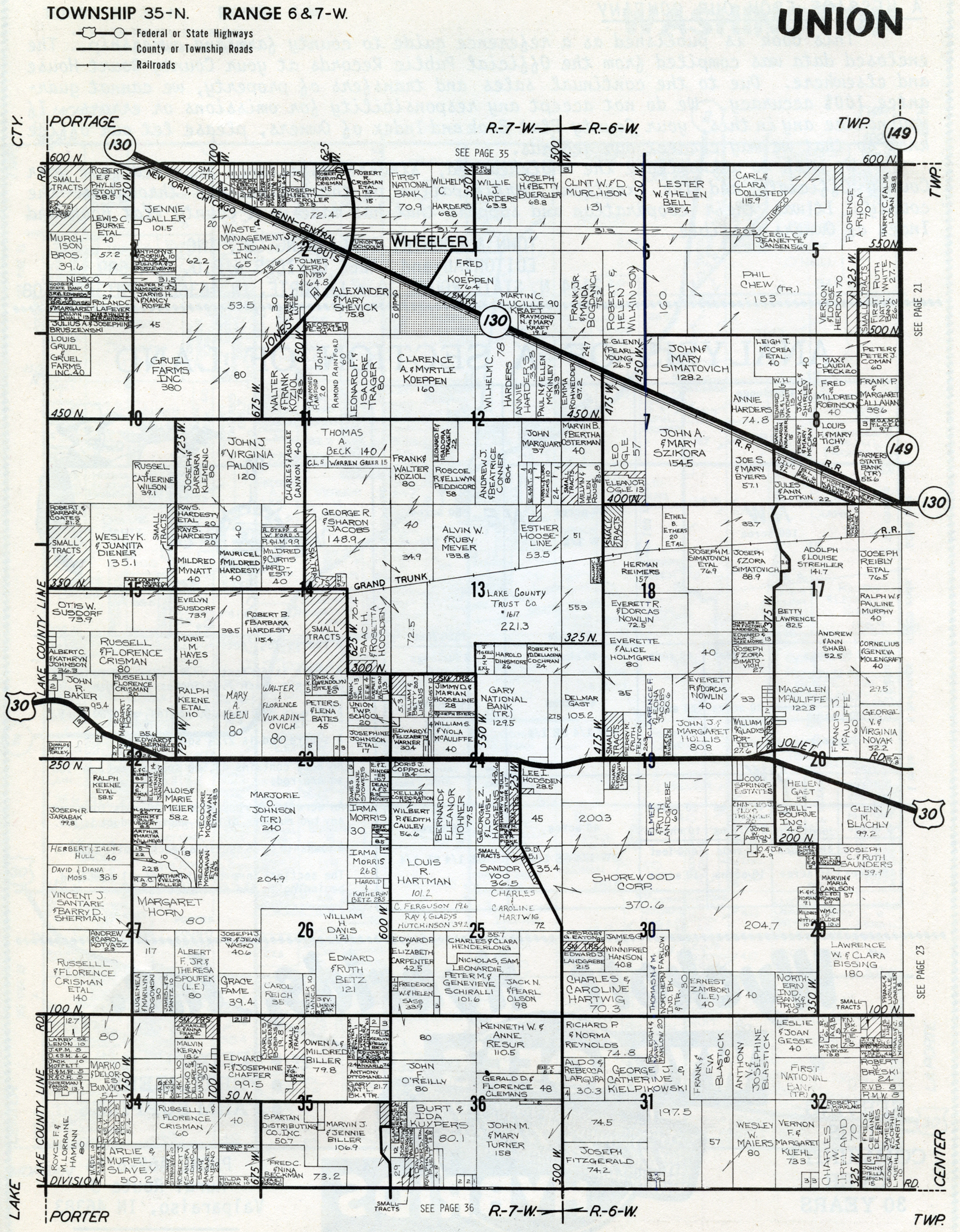 Porter Indiana Map.Porter County Indiana Genweb Union Township Maps