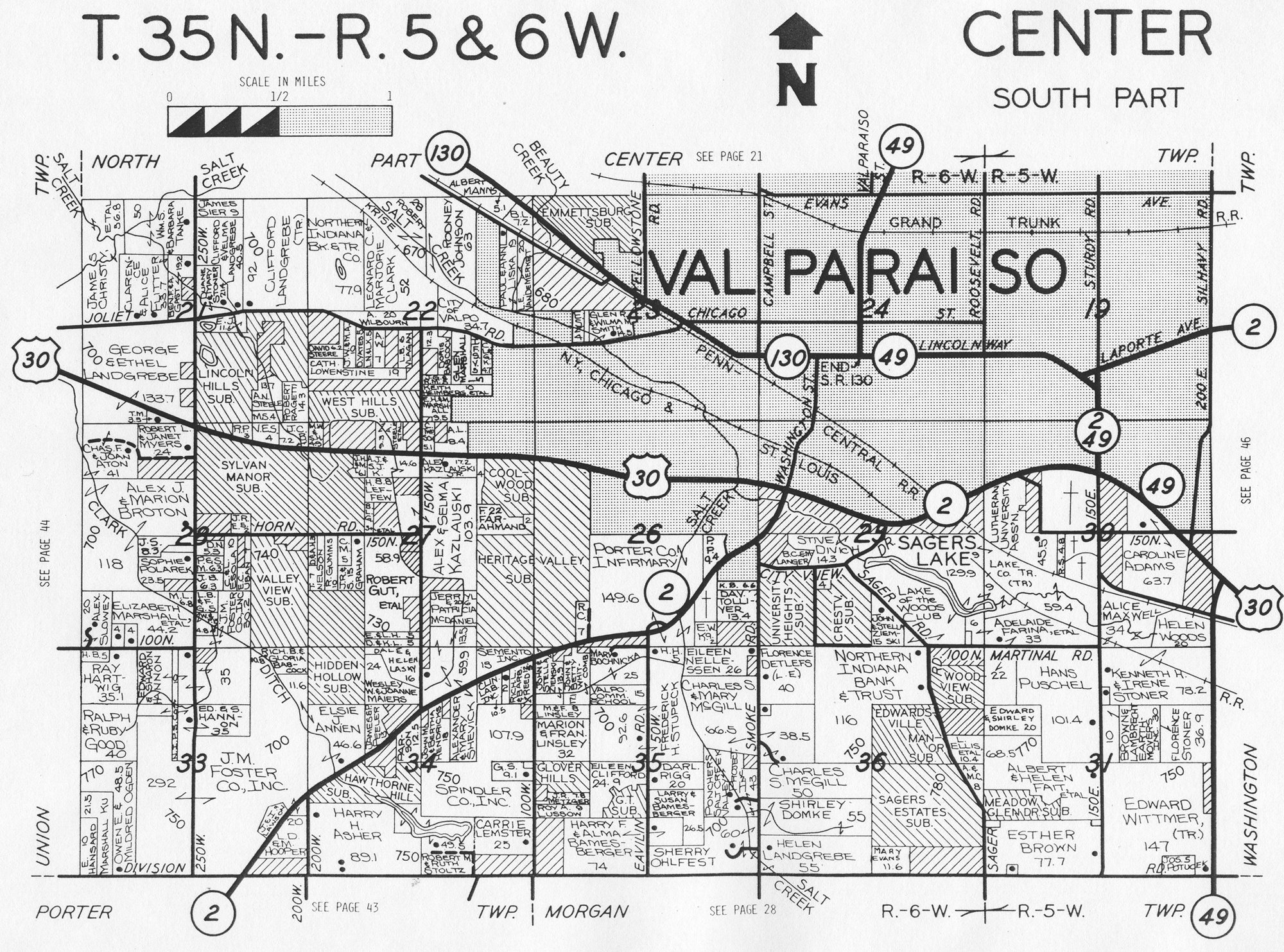 Porter Indiana Map.Porter County Indiana Genweb Center Township Maps